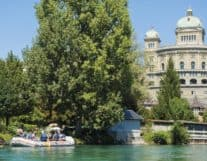 Aare float boat tour in Switzerland