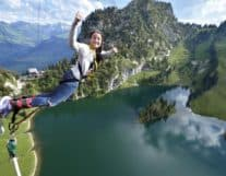 Girl Bungy Jumping in Switzerland
