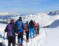 Tourists Snow Shoe Tour in Interlaken