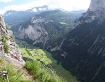 High view of via ferrata murren switzerland