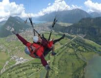 Instructor of paraglading in the air