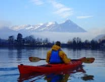 Kayaking with Swiss Alps in the Background