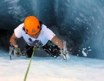 Ice climbing in Winter of Switzerland