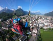 Paragliding over Interlaken City