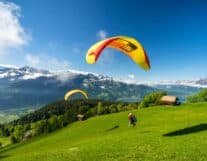 Paragliding in Interlaken on a sunny day