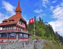 Flag of Switzerland in the Harder Kulm