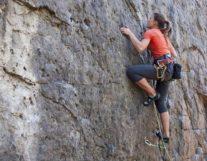 Young girl rock climbing Interlaken