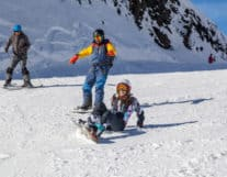 Girl Skiing in Interlaken with a private instructor