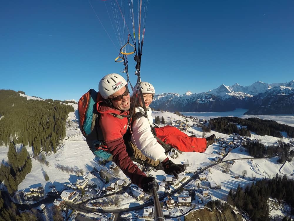 paragliding interlaken on Winter
