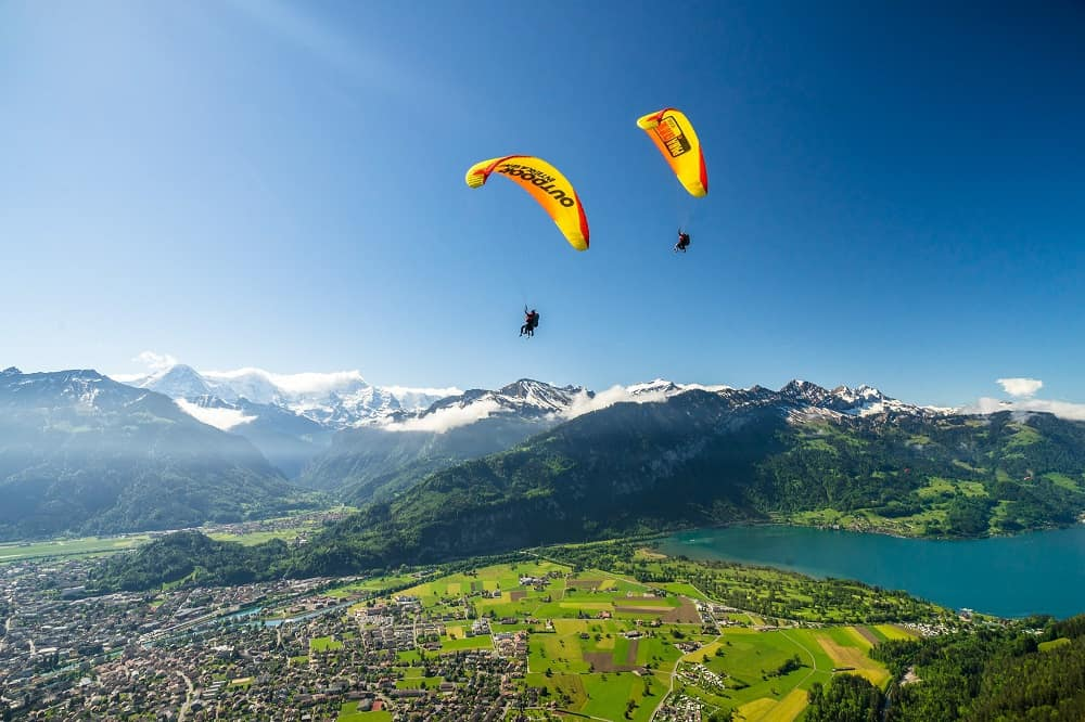 Paragliding above Interlaken on a sunny day