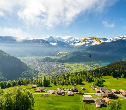 Paragliding over Interlaken on Summer