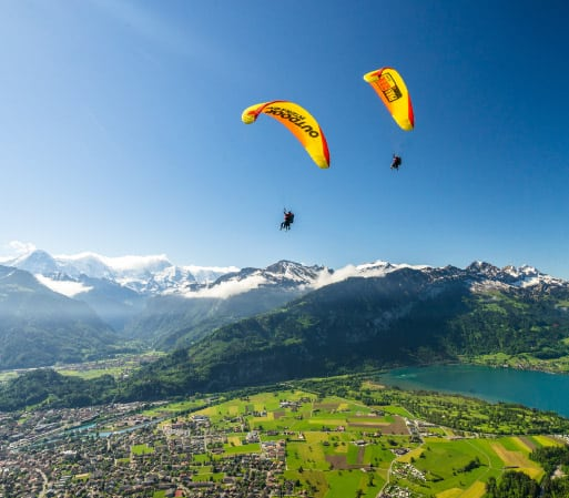 Paragliders in a beautiful sunny day in Switzerland