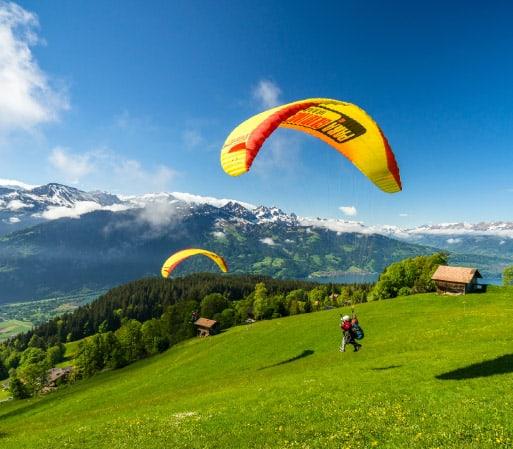 Paragliding in Switzerland on a sunny day